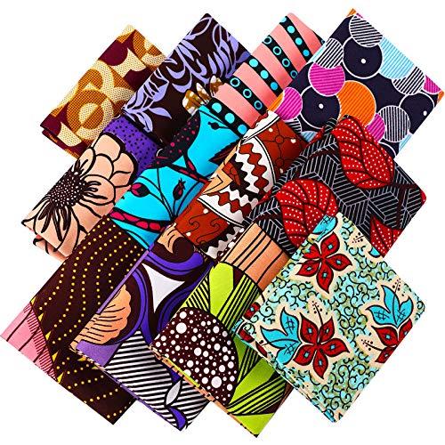Telas Cuadradas Africanas de Grasa en 19,5 x 15,7 Pulgadas/ 50 x 40 cm Tela Africana de Ankara Estampada de Cera para Costura Tela de Hecho de Cubierta Facial Proyecto Artesanal (12 Piezas)