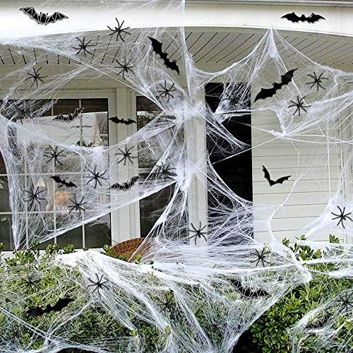 Telarañas Halloween, 100g Telarañas Blanco, 30 Arañas Falsas y 24...