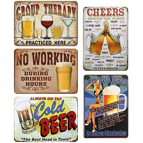 LZYMSZ 5 Piezas Vendimia Cartel de Chapa metálica Placa de la Pared Póster, Decoraciones de Pared de Hierro Retro para Café Bar Pub Casa Cerveza (30X20CM)