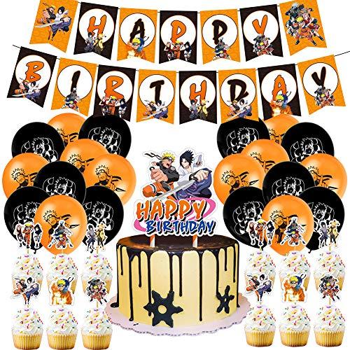 CYSJ Set de decoración de Fiesta, Juego De Fiesta TemáTica De Naruto Anime JaponéS Feliz CumpleañOs Banner Globo Tarjeta De Pastel Fiesta Combinada