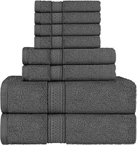 Utopia Towels - Juego de toallas; 2 toallas de baño, 2 toallas de mano y 4 toallitas - 100% Algodón (Gris)