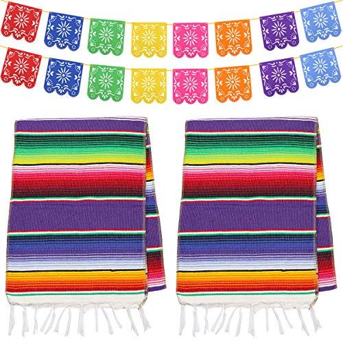 Dreamtop 2 caminos de mesa mexicanos de 35,56 x 213,44 cm, manta de...