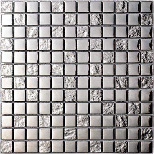 Decostyle DEC-47082626113 Mosaico Decorativo, Plata, 8 mm, 30 x 30 cm