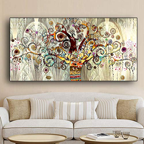 WADPJ Árbol de la Vida de Gustav Klimt Paisaje Arte de la Pared Lienzo Escandinavo Carteles Impresiones Arte Moderno de la Pared Imagen Sala de Estar Decoración-60x120cmx1 Piezas sin Marco