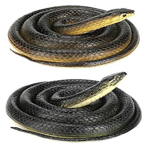 CestMall Serpiente de Goma Grande, 2 Piezas de Serpiente Realista de Goma aterradora, Serpiente Mamba Negra Grande Falsa para Accesorios de jardín, bromas, Juguetes de Broma, decoración de Halloween