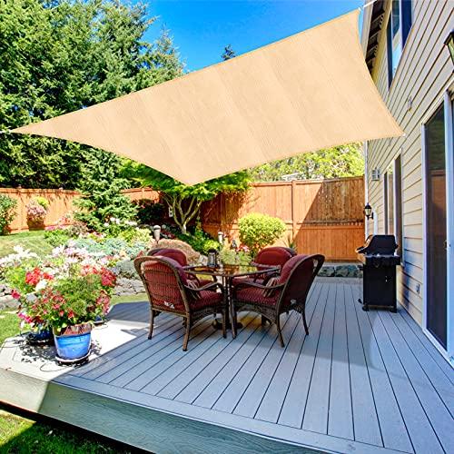 Duerer Toldo Vela de Sombra Rectangular 3.6x4.8M, 95% de protección Rayos UV, 185GSM, para Patio, jardín, pérgola, Patio Trasero - Color Arena