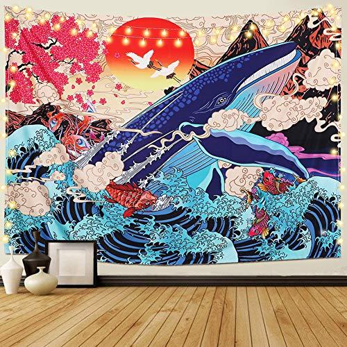 Dremisland Tapiz japonés Ukiyo-e Ola Mar Tapiz de Pared Grande Ballena Animal Tapiz Sol Naturaleza Paisaje Colgar en la Pared Decoración para Dormitorio Sala de Estar (L/148cmX200cm)
