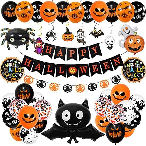 Decoracion Halloween Casa,Happy Halloween globos,pancarta,araña,...
