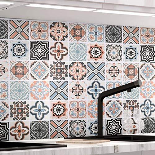 KINLO Papel Pintado Pared Adhesivo con la Imagen Mosaico Retro...