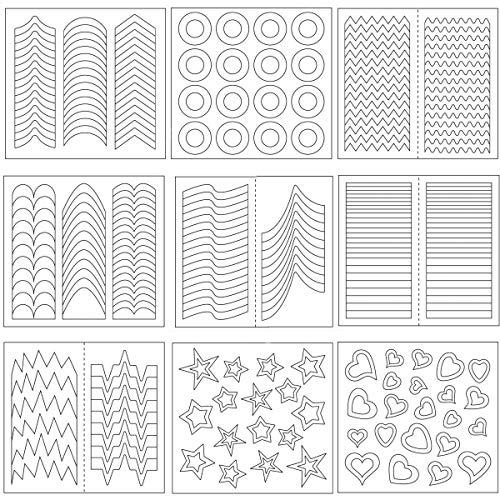 pegatinas de uñas francesas Fiyuer 3000 Pcs Plantillas de Arte de Uñas Smile línea nail art stickers para la manicura estilos 100 Hojas