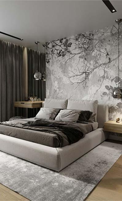 Dormitorio retro vanguardista con paredes grises y cortinas a juego. Moqueta gris estilo vinilo