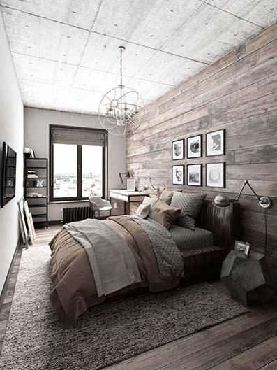Dormitorio rural con paredes y suelo de planchas de medra degradadas con techo bloques de hormigón
