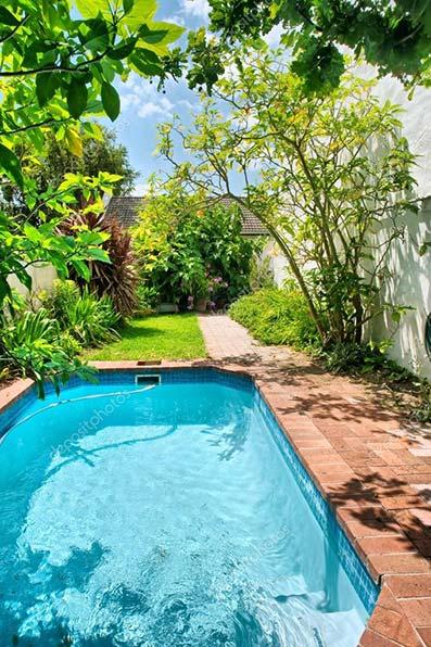 Pequeño jardín con borde de baldosa césped y arbustos con árboles