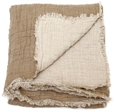 Manta de lino lavado bicolor 100% camel y crudo