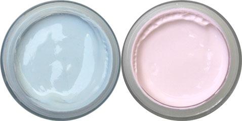 Sala de color rosa y azul.  Para la decoración de la habitación, pintura acrílica con acabado mate color rosa y celeste ideal para las paredes y repintar muebles pequeños con los colores del verano
