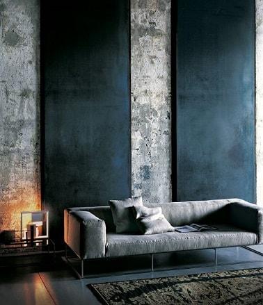 Para una decoración urbana industrial en el salón, podemos combinar dos tonalidades de gris: gris cemento y gris antracita.  Pintar estos dos grises junto a él es moderno.