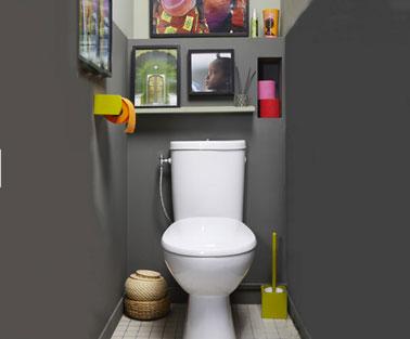 Pintura WC en gris antracita.  Accesorios WC de color verde llamativo.  Papel higiénico de color naranja, rosa y rojo.  WC Perline en Leroy Merlin
