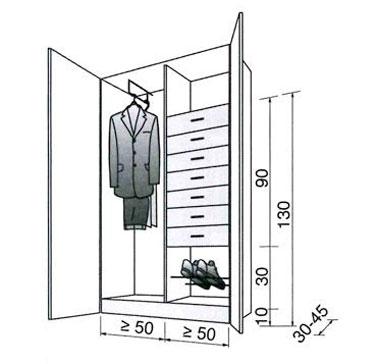 ¡Arreglar un vestidor con las dimensiones adecuadas es la solución de almacenamiento que hará tu vida en el dormitorio más fácil!  Una organización que ahorra espacio para almacenar toda su ropa.