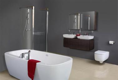 Color de pintura gris acero para un baño de diseño.