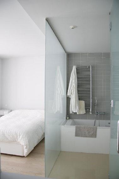 Una pared de vidrio pulido con chorro de arena para separar el baño instalado en un dormitorio de adultos.  Este separador de ambientes permite que el baño se beneficie de la luz natural proporcionada por la ventana.