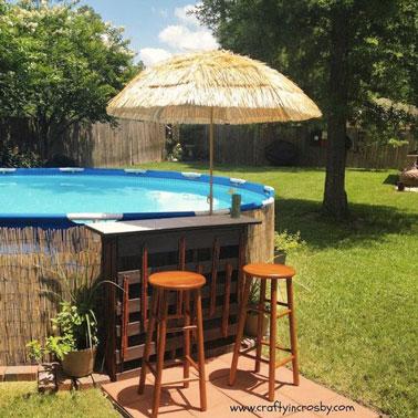 Aquí hay una agradable decoración que invita a recorrer la piscina con un pequeño bar decorado con una exótica sombrilla y canisses que esconden el revestimiento de la piscina.