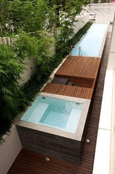 Estilo de diseño para esta piscina de madera sobre rasante equipada con jacuzzi, ideal para relajarse lo más cerca posible de la naturaleza y la vegetación en los días soleados.