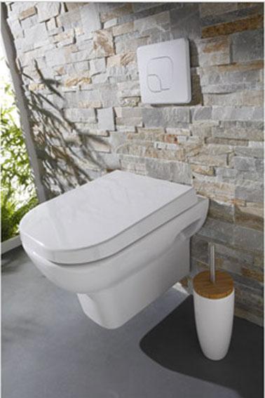 Inodoro suspendido Mueble inodoro suspendido integrado en muro de piedra.  Escoba y inodoro blanco