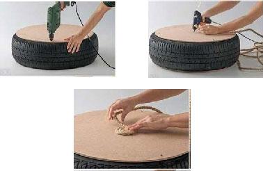 Comience atornillando las láminas de madera contrachapada en el neumático para formar el asiento del cojín del piso.  Luego fije la cuerda en el cojín formando espirales.