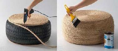 Después de cubrir todo el neumático con cuerda, barnizar el cojín de suelo con un barniz incoloro en 1 o 2 manos según el producto utilizado.