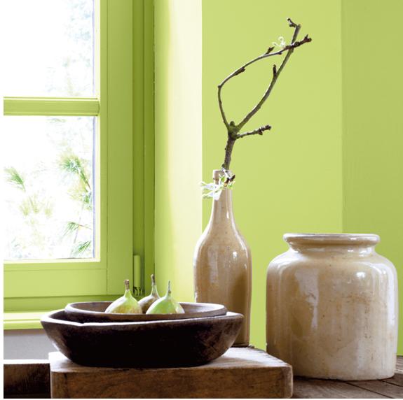 Verde anís-almendra, una tonalidad natural suave y energizante que le gusta combinar con la madera y los tonos tierra.  Pintura fotográfica Ripolin