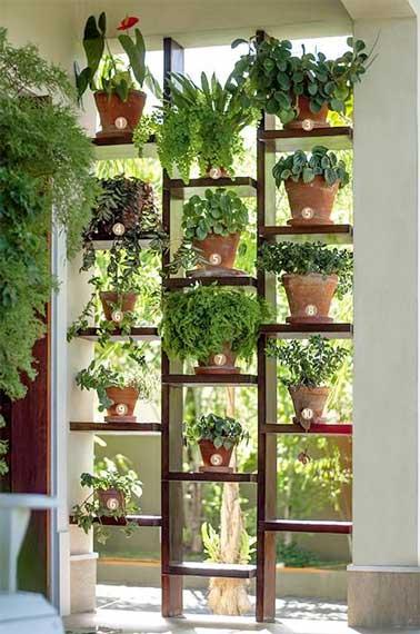 Una pared verde sirve como panel de partición exterior en un jardín.  Construido con estantes de madera y suculentas en macetas, divide el espacio sin asfixiarlo.