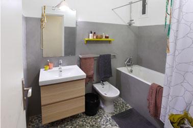 Pintura de azulejos, Masqu'carrelage para revestimientos, baño en planta baja.  color gris urbano