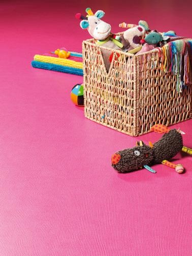 Un suelo de pvc rosa que les encantará a los niños en su dormitorio.  Color alegre, comodidad en la pisada, fácil mantenimiento, ¡la nueva colección Gerflor es increíble!