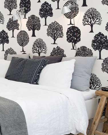 El papel tapiz estampado colocado en la pared de un dormitorio agrega encanto a la decoración.  Depende de usted coordinar los patrones del papel con el color de la habitación.