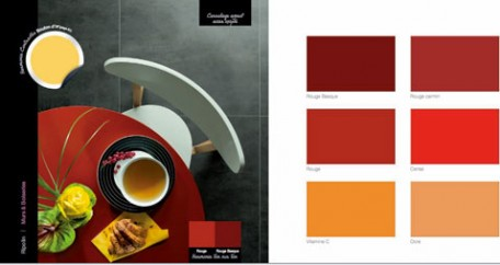 decoración de la cocina, azulejos de la pared con aspecto de acero oxidado, mesa de madera pintada de rojo, silla blanca Carta de colores de pintura Ripolin