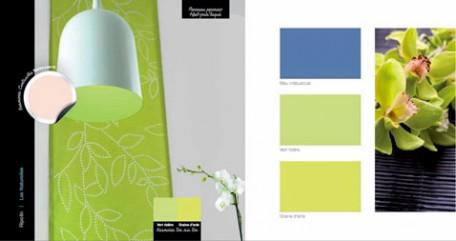 armonía de colores para la decoración del hogar con pintura azul y verde lima para que las paredes se completen con cojines u objetos decorativos de nácar