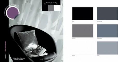 decoración de la sala de estar, sillón de cuero negro, cortinas transparentes blancas, cojín de tela metálica, pintura de pared gris ratón pintura ripolin