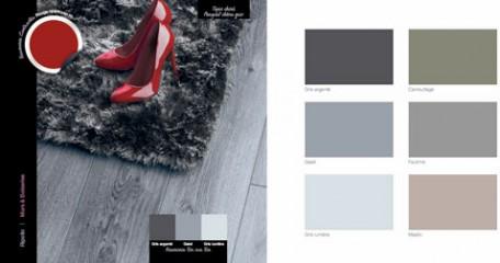 Decoración de la sala de estar con piso de parquet de roble gris, alfombra acrílica gris china, pintura de pared gris ratón
