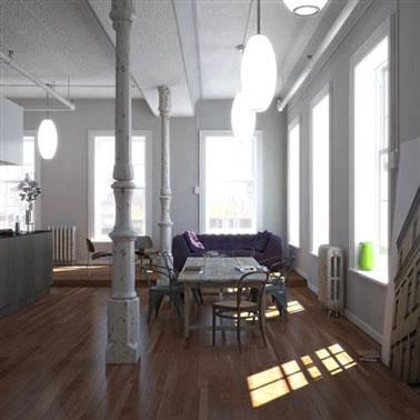 Decoración de comedor estilo loft.  pintura de color gris y blanco, pisos de madera de roble mediano, mesa de taller y sillas que no combinan