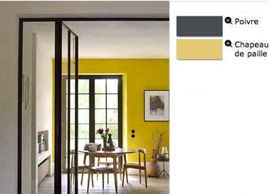 color de comedor pintura amarilla media en las paredes y gris pimienta para marcos de ventanas y carpintería