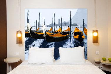 Cabecero en tejido mixto de lino y algodón con motivo naranja: Les Gondoles de Venise, Mademoiselle Tiss