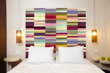 Cabecero en tejido mixto lino algodón patrón: Berlingo Mademoiselle Tiss