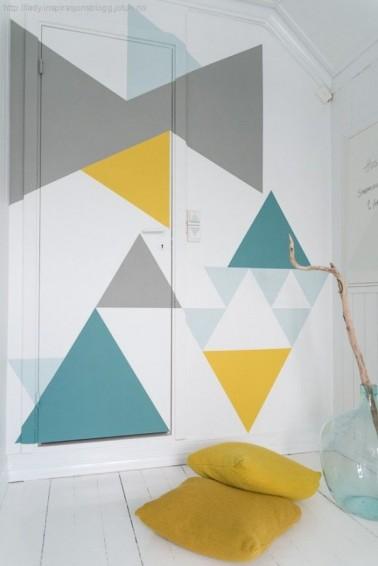 Los patrones geométricos creativos son muy adecuados para la habitación de un niño.  Mezclar varios colores en la misma pared es divertido y fácil de hacer.