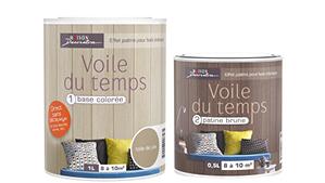 Pintura para pintar paneles, dos componentes: Base coloreada y pátina blanca o marrón para soporte barnizado sin lijar Voile du temps de Maison Déco.