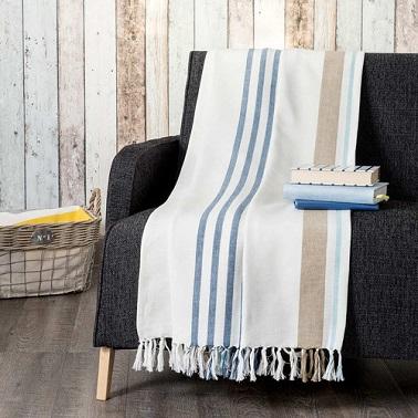 cubrecama de algodón con rayas azules y marrones