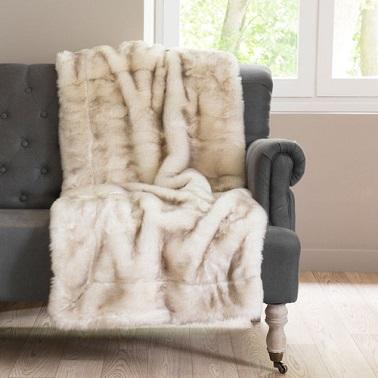 Cama de piel sintética beige o manta de sofá, mullida como nunca antes
