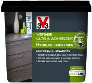 Aplicado como pintura para muebles, el barniz semi-opacificante Ultra Adherent V33 está disponible en 7 colores de apariencia satinada y mate a la venta exclusivamente en Leroy Merlin.