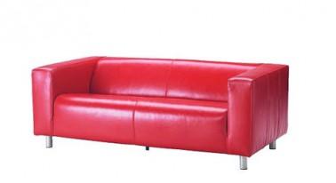 Sofá de 2 plazas Tapicería: Serraje vacuno pigmentado y granulado, teñido en el color rojo masa existe en negro