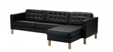 Sofá 3 plazas + chaise longue, acolchado, Grann negro existe en cuero blanco y marrón