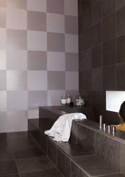 Idea de decoración con pintura para azulejos en el baño: haz un tablero de ajedrez con dos acabados de pintura para azulejos.  Aquí, pintura gris mate y pintura gris metalizado brillante.